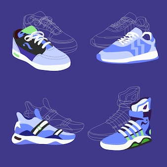 Cool sneakers brand vector illustration