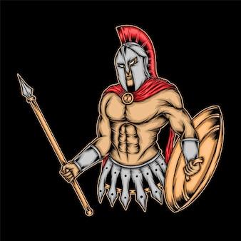 Классная спартанская иллюстрация. премиум векторы