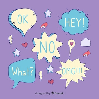 Cool speech bubbles with different expressions