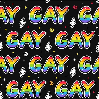 Cool stylish gay word quote text seamless pattern. vector doodle cartoon character illustration design. gay quote text,lgbt rigts slogan seamless pattern print design for poster, t-shirt concept