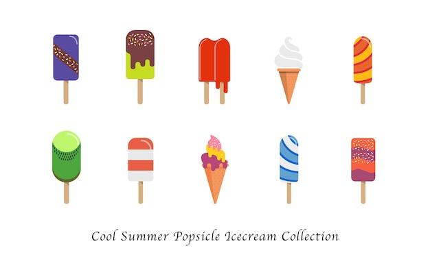 クールな夏のアイスキャンデーアイスクリーム甘いカラフルなデザートコレクション