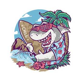 Cool summer shark vacation cartoon illustration