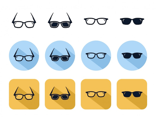 Cool sunglasses icon set, geek fashion optical lens accessory