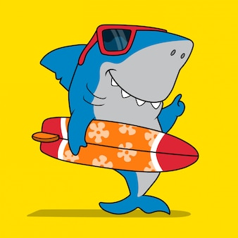 Cool surfer shark.