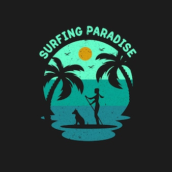 Cool surfing paradise illustration design vector