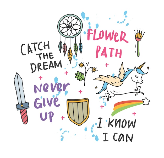 Cool t shirt design in doodle style with patches and hand written quotes