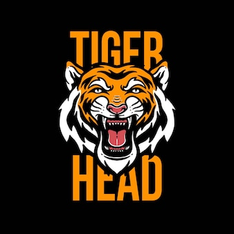 Cool tiger head illustrated vector template