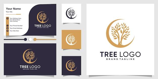 Прохладный логотип дерева с концепцией современного стиля и шаблоном визитной карточки