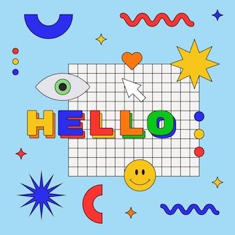クールなトレンディなこんにちは挨拶イラスト。こんにちは言葉でかわいい抽象的な構成。