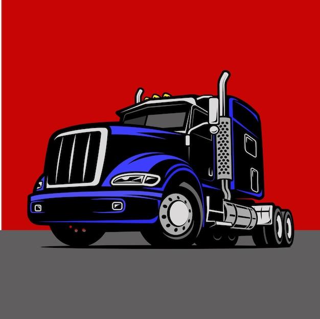 Cool truck cargo color comic illustration vector