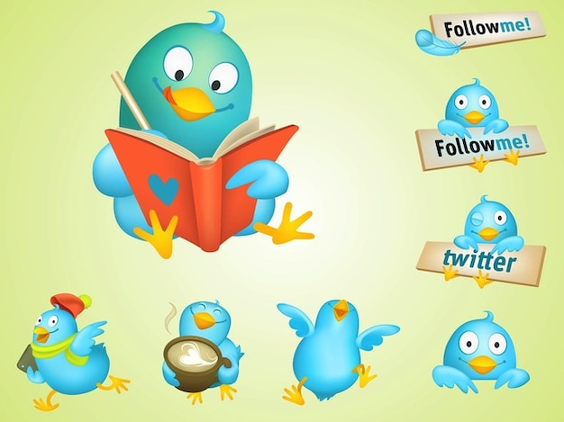 Cool twitter birds cartoon vectors