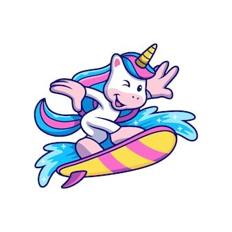 여름에 서핑을 하는 멋진 유니콘 만화.