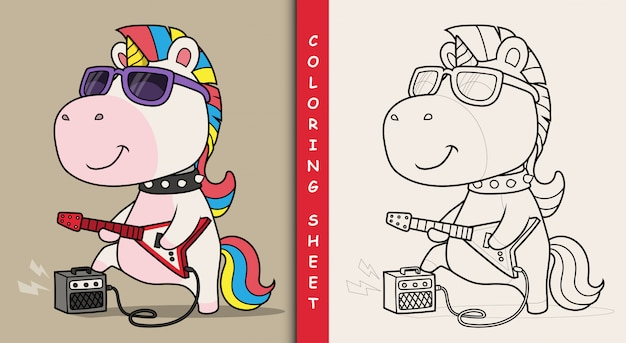Cool unicorn playing guitar. coloring sheet.