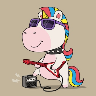 Cool unicorn playing guitar.