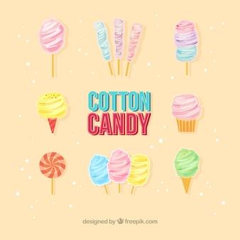 Varietà fredda di caramelle di cotone Vettore gratuito