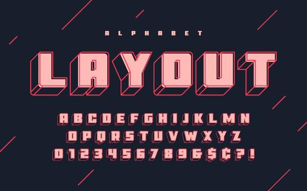 Прохладный вектор 3d алфавита, шрифта, шрифта, букв и п