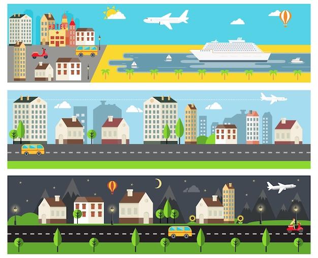 クールなベクトル漫画の堤防の田舎と都市の道