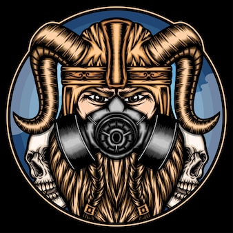 Cool viking with gas mask.