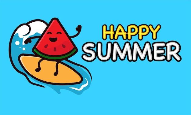 여름 휴가 배너 서식 파일에 멋진 수박 마스코트