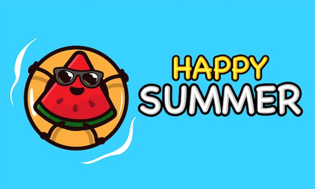 Cool watermelon mascot in summer holiday banner template
