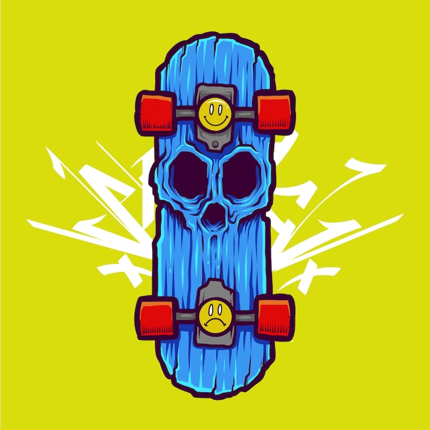 Cool zombie skull illustration and tshirt design
