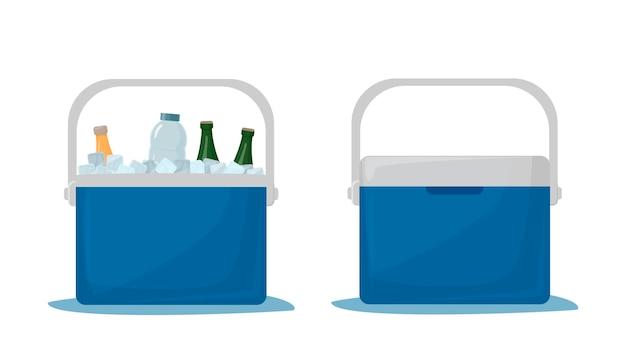 쿨러백. 차가운 음료수. 휴대용 냉장고. 자동차 냉장고. 음료와 함께 아이스 박스입니다. 음료가 있는 열린 냉장고와 닫힌 냉장고. 벡터 일러스트 레이 션 흰색 배경에 고립입니다.