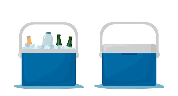 Cooler bag. cold drinks. portable refrigerator. car refrigerator. ice box with drinks. open fridge with drinks and closed fridge. vector illustration isolated on white background.