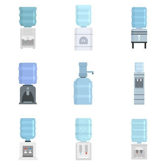 Cooler water icon set