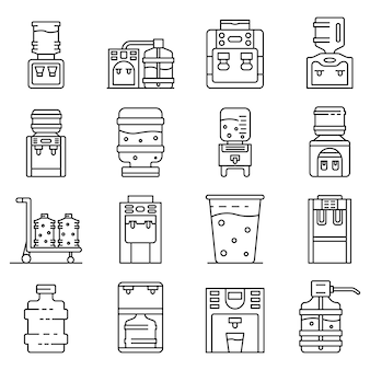 Cooler water icons set, outline style