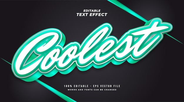 Coolest text style in white and green with 3d effect. editable text effect