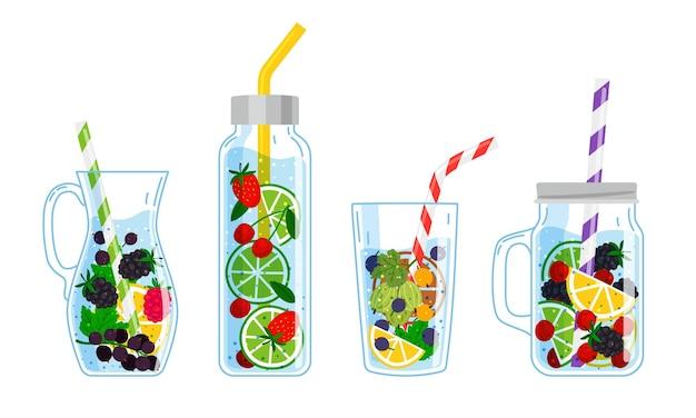 과일로 음료를 식힙니다. 칵테일이 있는 만화 안경, 신선한 과일과 함께 손으로 그린 멋진 음료, 흰색 배경에 격리된 레모네이드를 마시는 여름의 벡터 그림