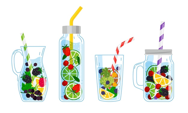 Cooling drinks with fruits. cartoon glasses with cocktails, hand drawn cool beverages with fresh fruits, vector illustration of summer drinking lemonade isolated on white background