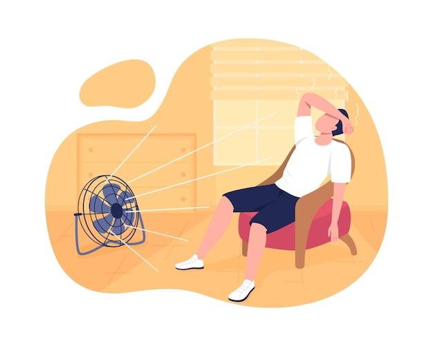 여름 2d 절연 집 냉각. 체온을 낮추십시오. 만화에 여름 더위 평면 문자로 고통받는 남자. 일사병 방지 프리미엄 벡터
