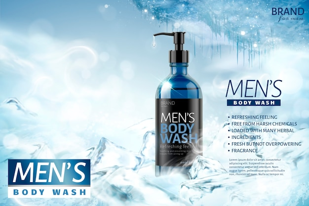 Cooling men's body wash  on frozen background
