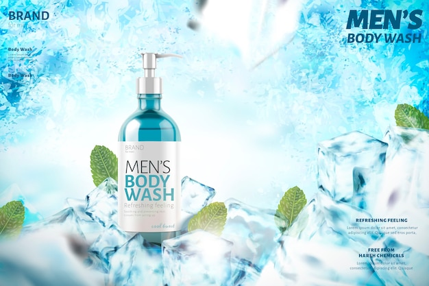 Cooling men's body wash with mint leaves,  on frozen background