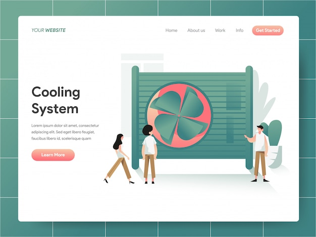 Cooling system  banner of landing page concept