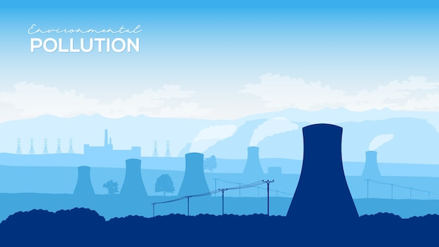 Cooling tower of nuclear power plant design illustration concept