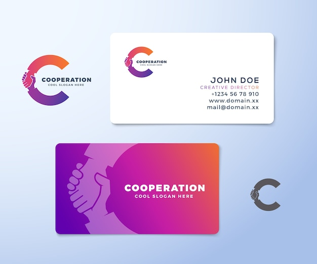 Cooperation abstract logo and business card