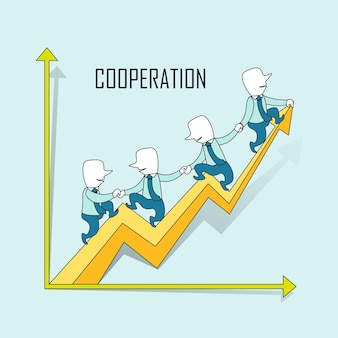 Cooperation concept: businessmen riding a growing up arrow in line style