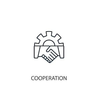 協力コンセプトラインアイコン。シンプルな要素のイラスト。協力コンセプト概要シンボルデザイン。 webおよびモバイルui / uxに使用できます
