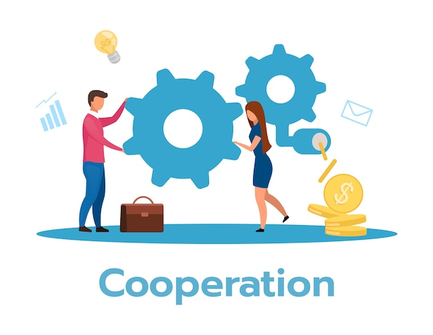 Cooperation flat illustration. beneficial exchange. partnership concept. business model. teamwork and collaboration. workflow, job performance. isolated cartoon character on white background