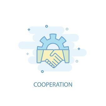 協力ラインのコンセプト。シンプルな線のアイコン、色付きのイラスト。協力シンボルフラットデザイン。 ui / uxに使用できます