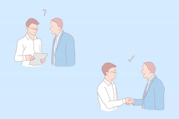 Этапы сотрудничества, вопрос и соглашение, предложение работы и рукопожатие, составление концепции сделки