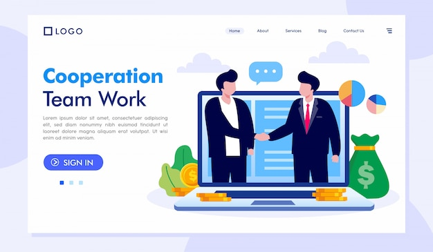 Cooperation team work landing page website illustration vector template