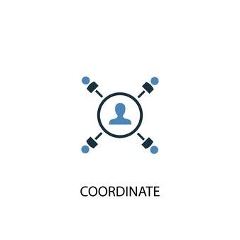 コーディネートコンセプト2色のアイコン。シンプルな青い要素のイラスト。コンセプトシンボルデザインをコーディネートします。 webおよびモバイルui / uxに使用できます