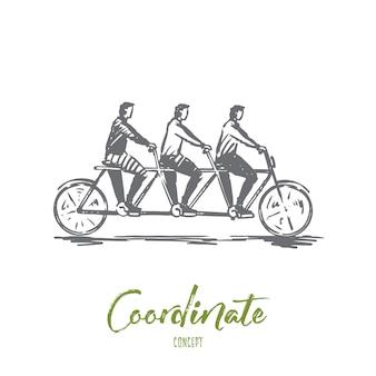 조정, 협력, 팀워크, 자전거, 탠덤 개념. 하나의 자전거 컨셉 스케치에 손으로 그린 세 사람.