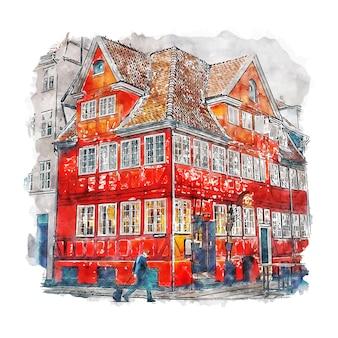 Копенгаген дания акварельный эскиз рисованной иллюстрации
