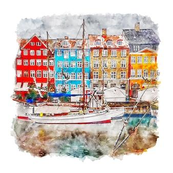 コペンハーゲンデンマーク水彩スケッチ手描きイラスト