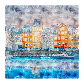 코펜하겐 덴마크 수채화 스케치 손으로 그린 그림