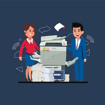 Копировальный аппарат с офисными мужчинами и женщинами